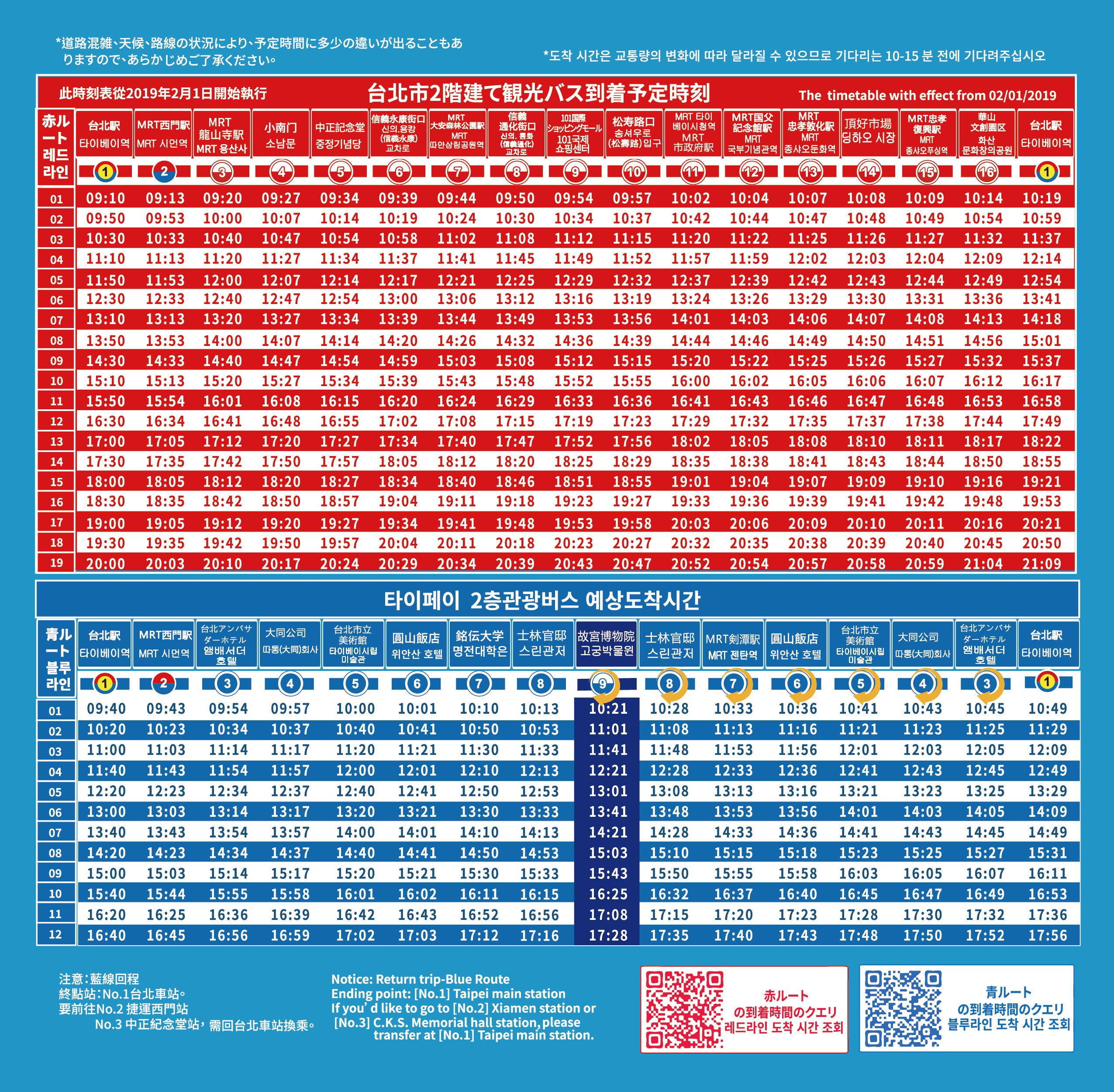 オープントップバス、時刻表